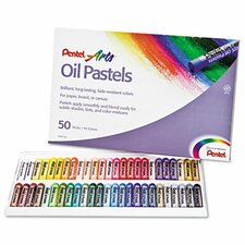 Oil Pastel Set with Carrying Case, 50/Set