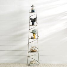 Easton 5 Tier Metal Lighthouse Display Unit with Glass Cylinder for Candle by Breakwater Bay