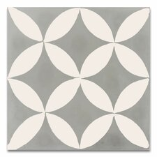 """Amlo 8"""" x 8"""" Handmade Cement Tile in White and Gray"""