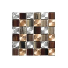 """Pearl 12"""" x 12"""" Glass Mosaic Tile in Copper"""