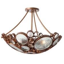 Recycled Fascination 3-Light Semi Flush Mount Ceiling Light