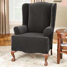 Stretch Pinstripe Wing Chair Slipcover  by Sure Fit