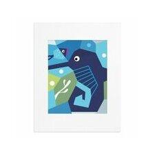 Oceanography Cubist Seahorse Paper Print