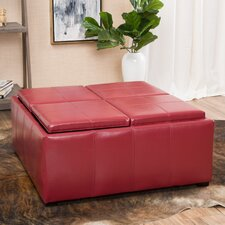 Adrielle Cube Shaped Faux Leather Tray Top Ottoman by Latitude Run