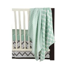Ikat Dots/Stripes 4 Piece Crib Bedding Set