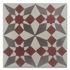 """Joana 8"""" x 8"""" Cement Hand-Painted Tile in Red and Gray"""