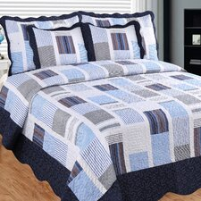 Miles and Miles 3 Piece Reversible Quilt Set