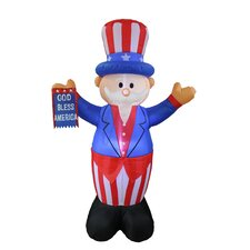 Patriotic American Independence Day Inflatable Uncle Sam with God Bless America Flag Yard Decoration
