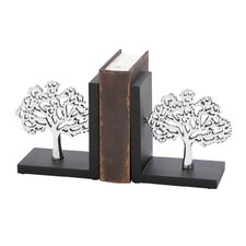 Aluminum and Wood Tree Book Ends (Set of 2)
