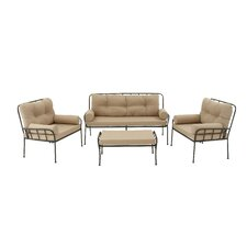 Metal and Fabric 4 Piece Deep Sitting Group with Cushions by Cole & Grey