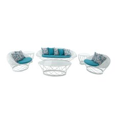 Metal and Fabric 6 Piece Lounge Sitting Group with Cushions by Cole & Grey