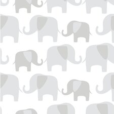 Elephant Parade 5.5m L x 52cm W Animals Roll Wallpaper