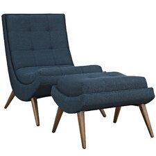 Ramp Fabric Lounge Chair and Ottoman