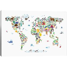 Animal Map of the World by Michael Thompsett Canvas Art by Viv + Rae
