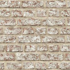 "Rustic 33.5' x 22"" Brick Wallpaper Roll"