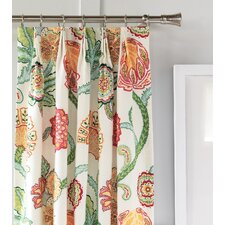 Portia Nature/Floral Semi-Sheer Pinch Pleat Single Curtain Panel