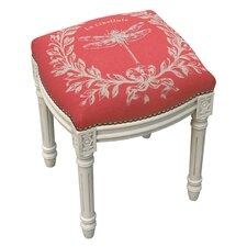 Clematite Dragonfly Linen Upholstered Vanity Stool by Lark Manor