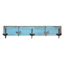 Waterside MDF Wall Hanger with 5 Metal Whale Tail Wall Hook by Creative Co-Op