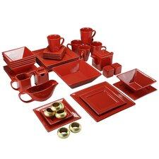 Nova Square Beaded 43 Piece Dinnerware Set, Service for 6