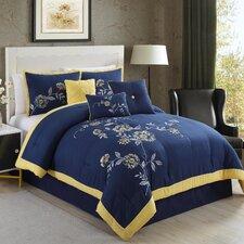 Violet Embroidered 7 Piece Comforter Set
