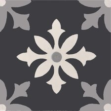 """Azrou 8"""" x 8"""" Cement Patterned Tile in Black/White/Gray"""