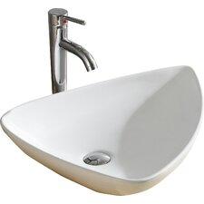 Modern Vitreous Triangular Specialty Vessel Bathroom Sink