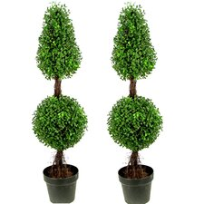 Aritificial Double Ball Shaped Boxwood Round Tapered Topiary in Pot (Set of 2)
