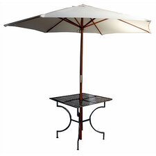 """Iron Square Dining Table with 2.75"""" Umbrella Holder"""