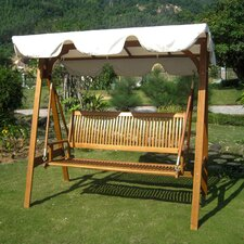 Sabbattus 3-Seater Balau Swing with Frame and Canopy