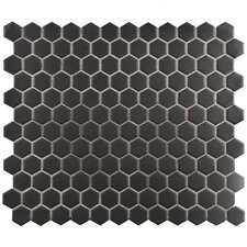 "New York Hexagon 10.25"" x 12"" Porcelain Unglazed Mosaic Tile in Antique Black"