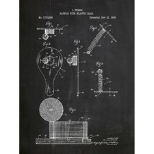 Toys and Collectibles 'Paddle with Elastic Ball' Silk Screen Print Graphic Art in Chalkboard/White Ink