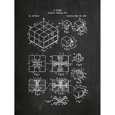 Toys and Collectibles 'Rubik's Cube' Silk Screen Print Graphic Art in Chalkboard/White Ink
