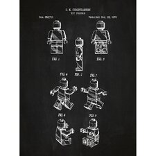 Toys and Collectibles 'Lego Person' Silk Screen Print Graphic Art in Chalkboard/White Ink