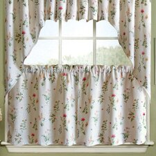 English Garden Floral Jacquard Kitchen Tier Curtain (Set of 2)