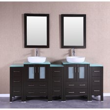 84 Double Vanity Set with Mirror by Bosconi