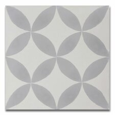 """Amlo Handmade 8"""" x 8"""" Cement Field Tile in White/Gray"""