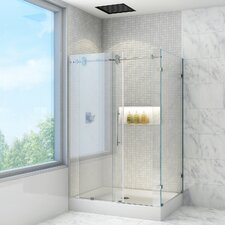 Winslow 36 x 48-in. Frameless Sliding Shower Enclosure with .375-in. Clear Glass and Chrome Hardware by VIGO