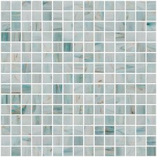 """Architect's Overstock Marbled 0.75"""" x 0.75"""" Glass Mosaic Tile in Glossy Aqua blue, gold and copper"""