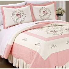 Roses Quilted 3 Piece Coverlet Set