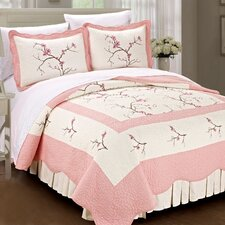 Cherry Blossom Quilted 3 Piece Coverlet Set