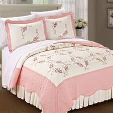 Chrysanthemum Quilted 3 Piece Coverlet Set