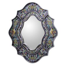 Wild Violets Reverse Painted Glass Wall Mirror