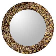 Round Wall or Table Mirror with Glass Mosaic Frame