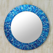 Glass Tile Round Wall Mirror