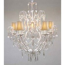Clemence 5-Light Wrought Iron Base Chain Crystal Chandelier