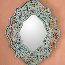 Handcrafted Reverse Painted Glass Wall Mirror