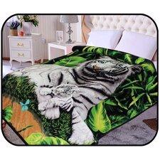 Hiyoko Safari White Tiger Animal Mink Blanket