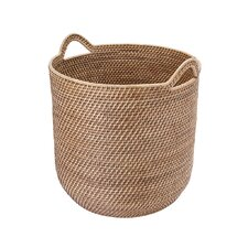 Leonia Round Rattan Storage Basket with Ear Handles