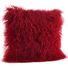 quick view becky mongolian lamb fur wool throw pillow - Red Decorative Pillows