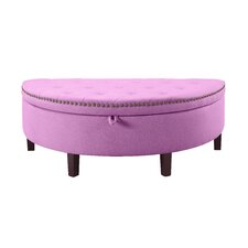 Jacqueline Button Tufted Half Moon with Gold Nailhead Trim Storage Ottoman by Iconic Home